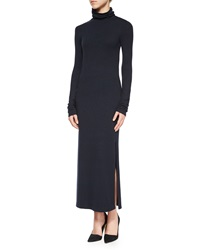Alice Olivia Long Sleeve Double Slit Turtleneck Dress Navy