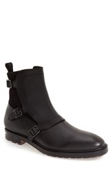 Alexander Mcqueen Men's 'Three Buckle' Studded Boot Black Pebbled Leather