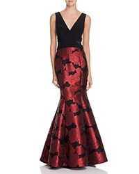 Aqua Mixed Media Gown Red Black
