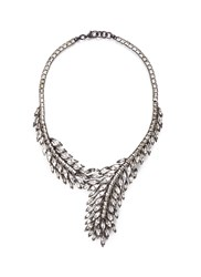 Erickson Beamon 'Frequent Flyer' Swarovski Crystal Feather Necklace Metallic White