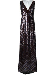 Marc Jacobs Plaid Sequined Sleeveless Gown Blue