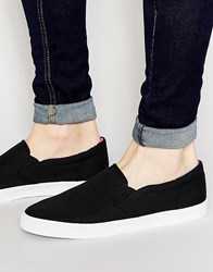 Asos Slip On Plimsolls With Floral Print Lining Black