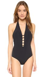 Tory Burch Laurito Plunge One Piece Black
