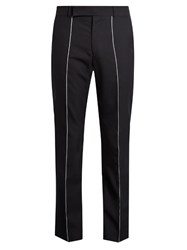 Paul Smith Contrast Stripe Cropped Wool Trousers Navy