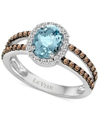 Le Vian Chocolatier Aquamarine 1 Ct. T.W. And Diamond 3 8 Ct. T.W. Ring In 14K White Gold