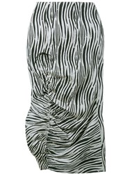 Awake Zebra Print Midi Skirt Black