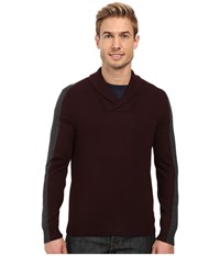 Perry Ellis Color Block Shawl Collar Pullover Port Men's Clothing Burgundy
