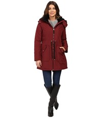 Jessica Simpson Quilted Fill Puffer W Drawstrings Hood And Removable Faux Fur Wine Women's Coat Burgundy