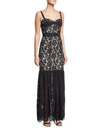 Milly Sleeveless Lace Bustier Mermaid Gown Black Nude