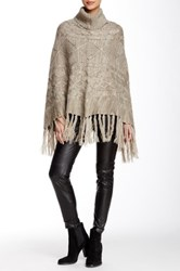 Romeo And Juliet Couture Turtleneck Fringe Poncho Beige