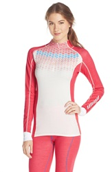 Helly Hansen 'Freeze Prowool' Half Zip Turtleneck Pink Glow Print