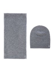 Polo Ralph Lauren Wool And Cashmere Knitted Scarf Grey