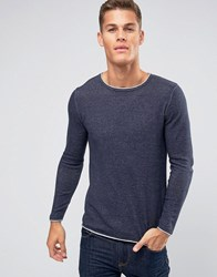 Selected Homme Crew Neck Knitted Jumper With Contrast Raw Hem Navy