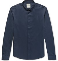 Wooyoungmi Slim Fit Cotton Poplin Shirt Storm Blue