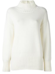 Malo Roll Neck Ribbed Pullover White