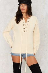 Nasty Gal Mine Or Yours Lace Up Sweater Beige