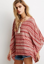 Forever 21 Tribal Print Peasant Blouse Red Cream