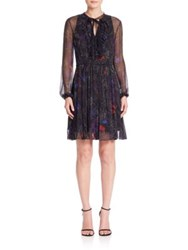 Elie Tahari Desi Silk Ruffle A Line Dress Black Multi
