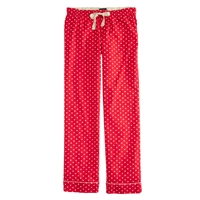 J.Crew Tall Pajama Pant In Polka Dot Flannel Dark Poppy