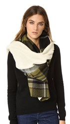 Standard Form Oversized Gingham Grid Scarf Green