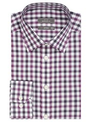John Lewis Non Iron Bold Check Regular Fit Shirt Berry Navy