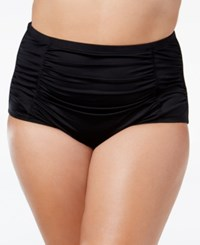 Lablanca La Blanca Plus Size High Waist Ruched Bikini Bottoms Women's Swimsuit Black