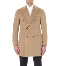 Corneliani Double Breasted Cashmere Overcoat Camel