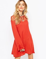 Missguided Boho Cheesecloth Swing Dress With Lace Burntorange