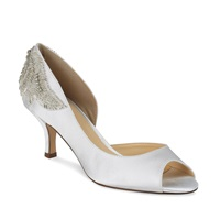 Paradox London Pink Mid Heel Finery Peep Toe Shoe Ivory