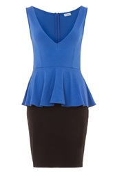Wolf And Whistle Jersey Colour Block Peplum Dress Blue