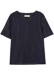 Tory Burch Lorraine Navy Stitched Eyelet Top