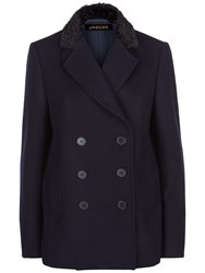 Jaeger Astrakhan Collar Peacoat Midnight