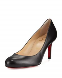 Christian Louboutin Simple Leather 70Mm Red Sole Pump Black