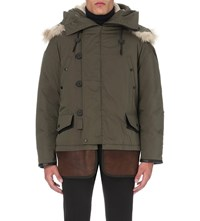 Coach Rip And Repair Cotton And Silk Blend Quilted Jacket Military