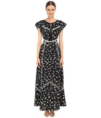 The Kooples Feather Print Long Dress In Silk With Ladder Stitch Detail Black
