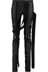 Rick Owens Paneled Leather Skinny Pants Black