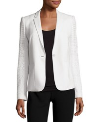Elie Tahari Tova Crochet Sleeve One Button Blazer Ivory