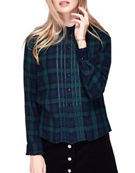 Miss Selfridge Check Pintuck Long Sleeve Button Down Shirt Blue Green