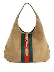 Gucci Jackie Soft Large Suede Hobo Beige Multi
