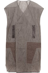 Rick Owens Wool And Leather Paneled Mesh Vest Gray