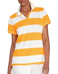 Lauren Active Striped Polo Shirt Orange White
