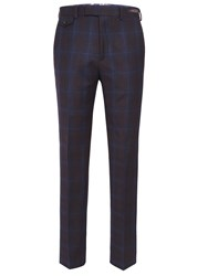 Ted Baker Modbox Faded Blue Check Slim Fit Trouser