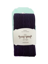 White Stuff Charlotte Cable Tight S Purple
