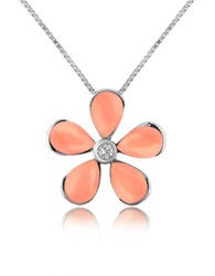 Del Gatto Diamond Gemstone Flower 18K Gold Pendant Necklace Pink Coral