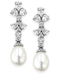 Arabella Bridal Cultured Freshwater Pearl 8Mm And Swarovski Zirconia 1 3 4 Ct. T.W. Earrings In Sterling Silver White