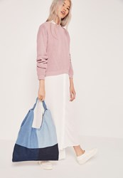 Missguided Patchwork Denim Slouch Tote Bag Blue Blue