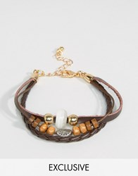 Designb London Beaded And Leather Layered Bracelet Brown