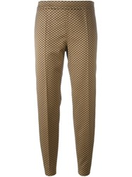 Max Mara Studio Jacquard Cropped Trousers Nude And Neutrals