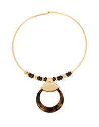 Robert Lee Morris Round Pendant Wire Collar Necklace Gold