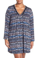 Plus Size Women's Midnight By Carole Hochman 'Tulum' Pintuck Nightgown Brush Stroke Stripe